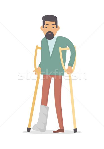 Foto d'archivio: Stampelle · gamba · rotta · isolato · bianco · maschio · portatori · di · handicap