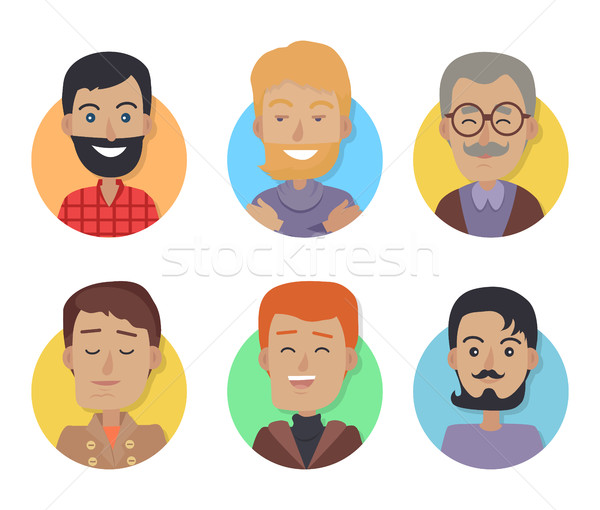 Icons Set of Men with Different Age, Hair Color Stock photo © robuart