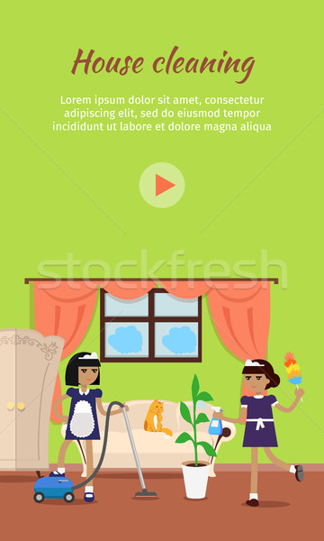 House Cleaning Vector Video Web Banner  Stock photo © robuart