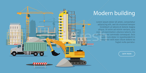 Modern bina süreç afiş Bina web stil Stok fotoğraf © robuart