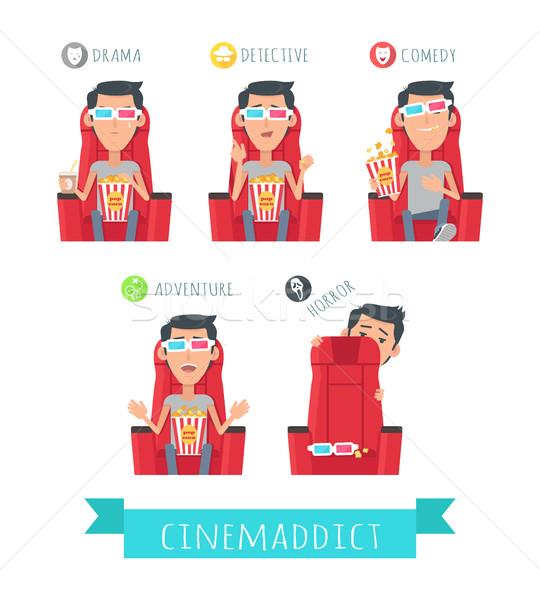 Háló filmek férfi 3D sztereó szemüveg Stock fotó © robuart