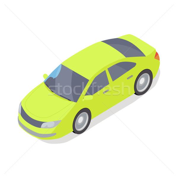 Személyes autó vektor ikon izometrikus vetítés zöld Stock fotó © robuart