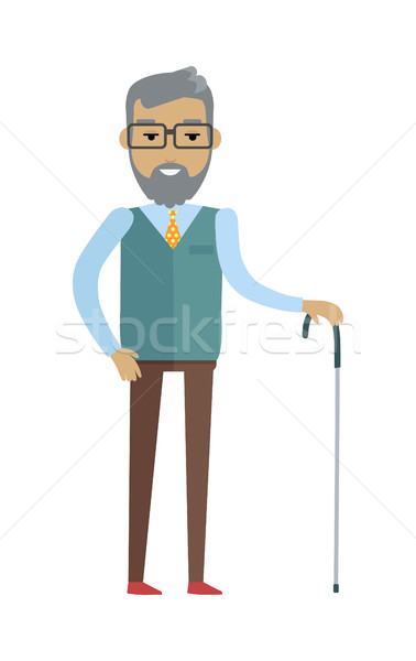 Stock photo: Old Bearded Man with Walking Stick