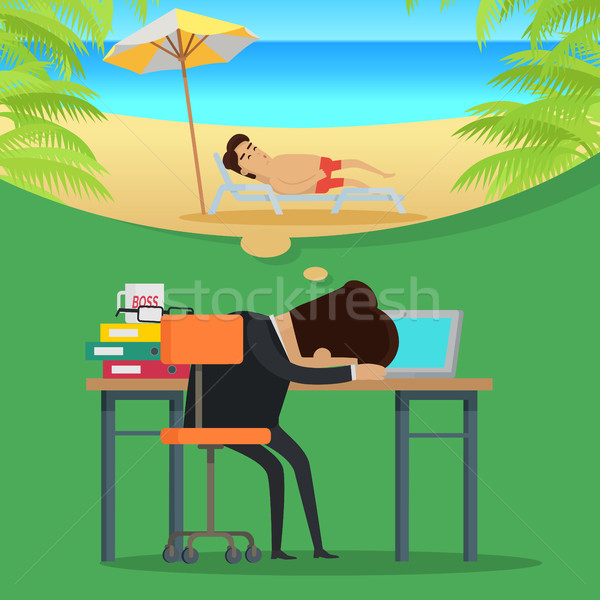 Dreams of vacation Vector Concept in Flat Design Stock photo © robuart