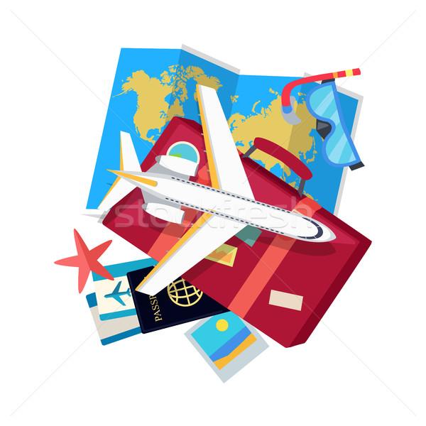 отпуск стиль вектора веб баннер самолета Сток-фото © robuart