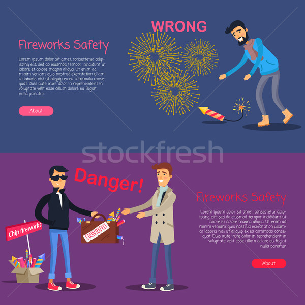 Fireworks Safety. Deal Danger and Wrong Usage Stock photo © robuart