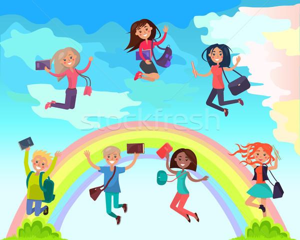 Feliz estudantes verão férias vetor meninos Foto stock © robuart