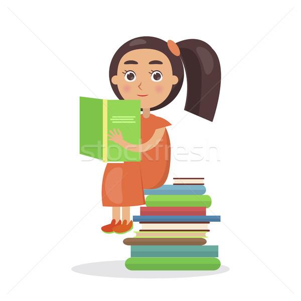 少女 オレンジ ドレス オープン 教科書 ベクトル ストックフォト © robuart