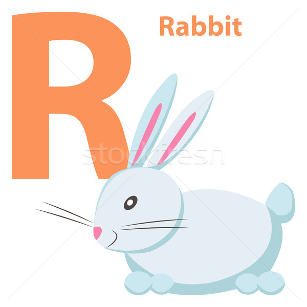 Babies English ABC Letter R with White Rabbit Flat Stock photo © robuart
