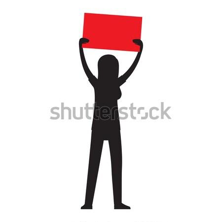 Nő sziluett piros illusztráció fekete kéz Stock fotó © robuart