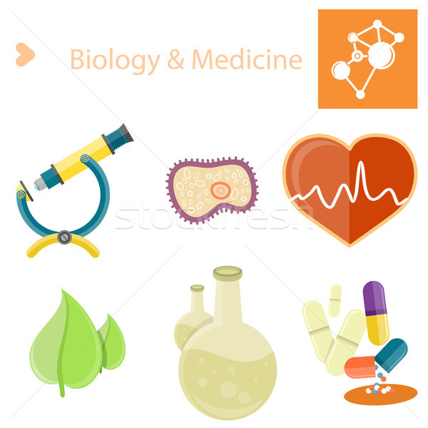 Biology and Medecine Poster with Illustrations Set Stock photo © robuart
