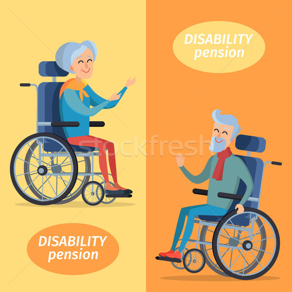 Stock photo: Disability Pension Two Pensioners on Wheelchairs