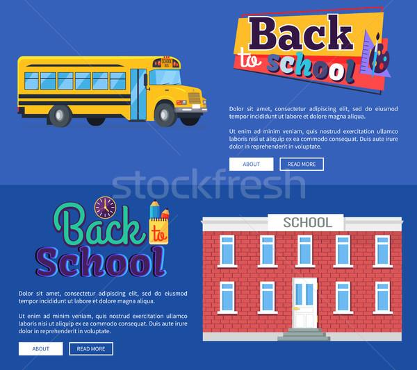 Okula geri ayarlamak afişler mavi metin yalıtılmış Stok fotoğraf © robuart