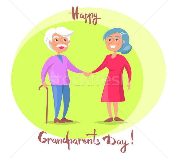 Happy Grandparents Day Senior Couple Walk Together Stock photo © robuart