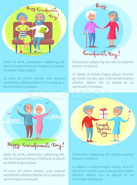 Foto stock: Feliz · avós · casal · de · idosos · diariamente · atividades · dia
