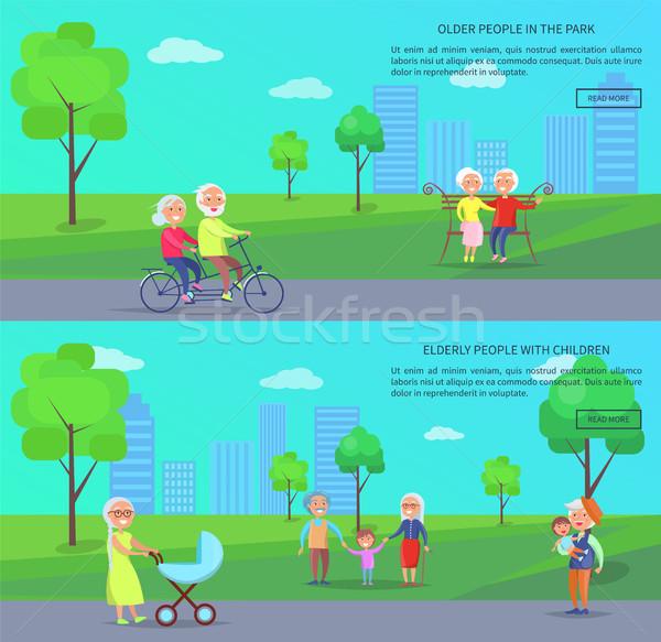 Starych ludzi parku wektora banner dojrzały pary Zdjęcia stock © robuart