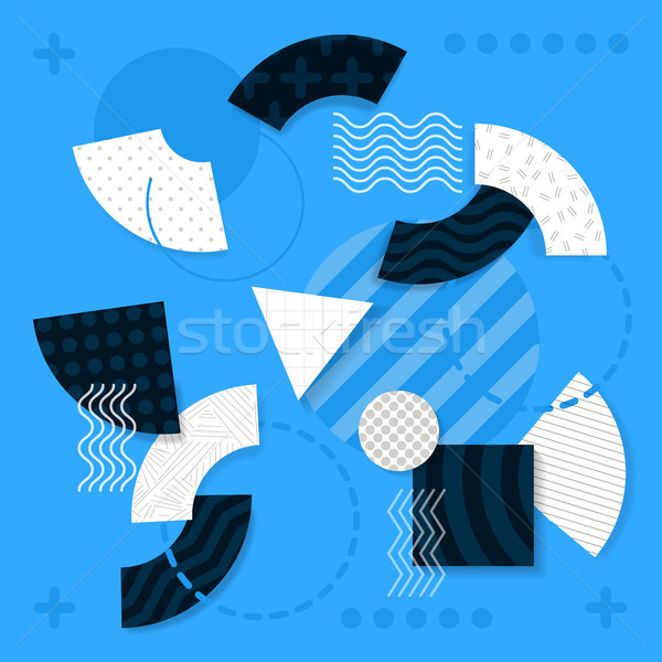 Ilustraciones geométrico formas azul claro iconos a rayas Foto stock © robuart