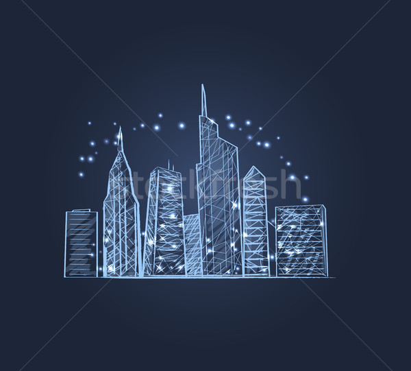 Night City Lights Icon Vector illustration Stock photo © robuart