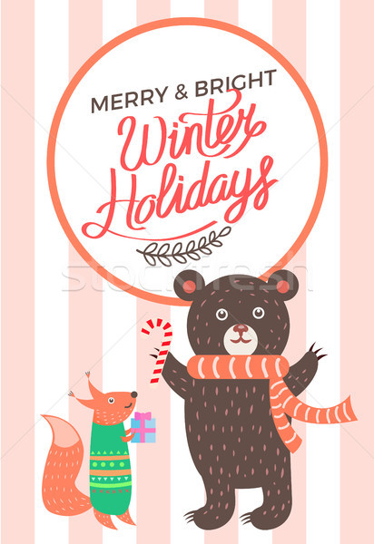 Vidám ikon medve róka karácsony fényes Stock fotó © robuart