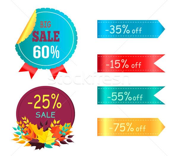 Duży sprzedaży 60 promo etykiety naklejki Zdjęcia stock © robuart