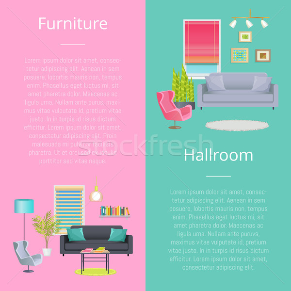Furniture and Hallroom Posters Vector Illustration Stock photo © robuart