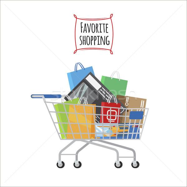 Winkelwagen favoriet winkelen banner vol zakken Stockfoto © robuart