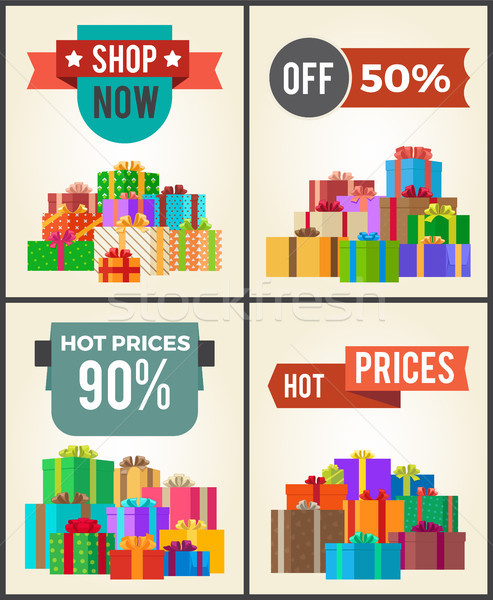 Shop Now Hot Price 90 Half Discount Promo Labels Stock photo © robuart