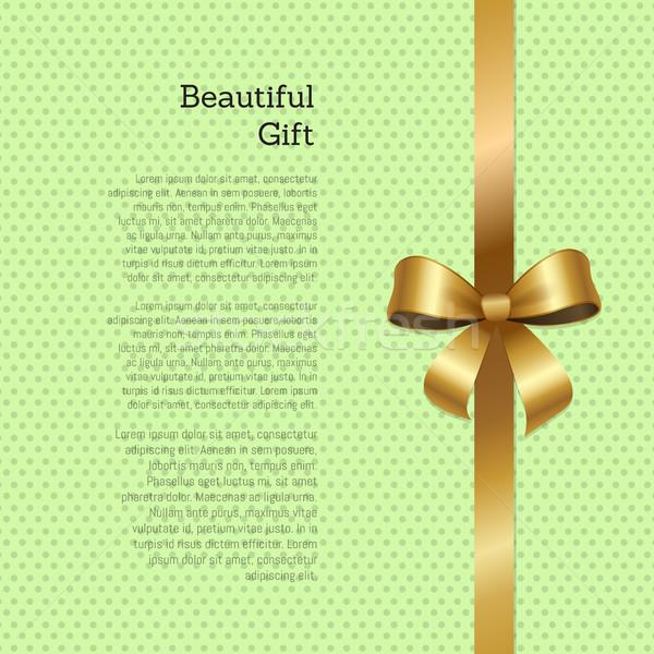 Gyönyörű ajándékutalvány üdvözlőlap terv szalag arany Stock fotó © robuart