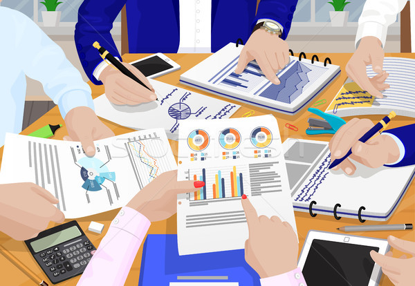 Business People and Papers Vector Illustration Stock photo © robuart