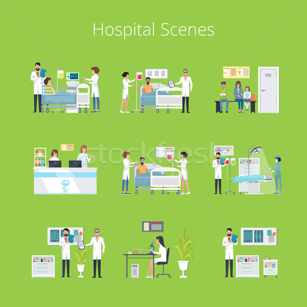 Hospital Scenes and Services Vector Illustration Stock photo © robuart