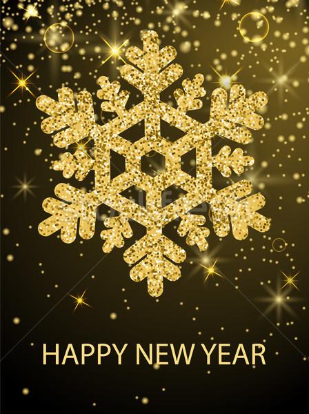 Happy New Year Congrats Banner Glitter Snowflake Stock photo © robuart