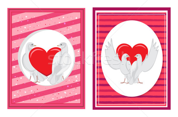 Biały pary serca zestaw Zdjęcia stock © robuart