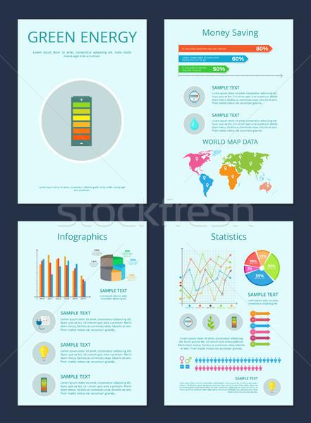 Groene energie geld besparing infographics statistiek collectie Stockfoto © robuart