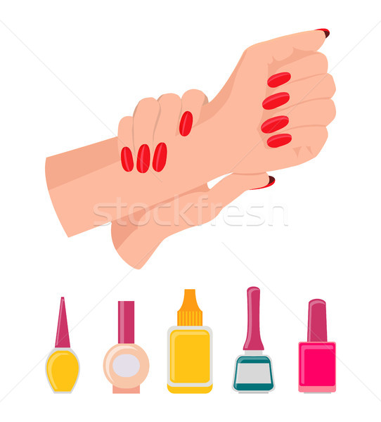 Hands and Nail Polish Poster Vector Illustration Stock photo © robuart