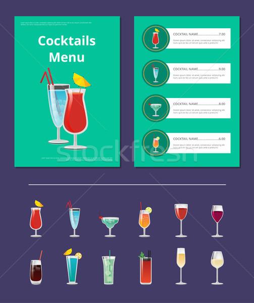 Koktélok menü bár elrendezés italok csillogás Stock fotó © robuart