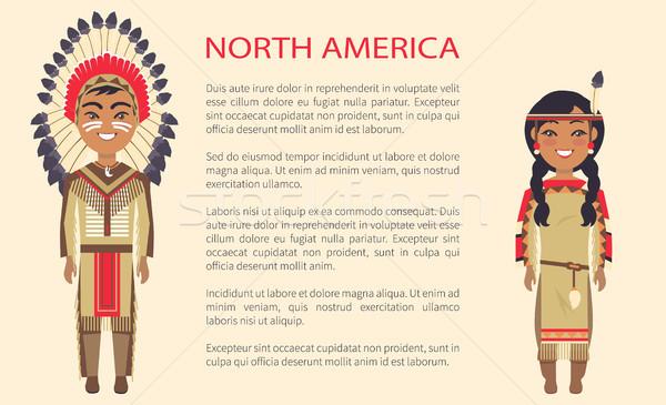север Америки традиционный костюмы человека женщину Сток-фото © robuart