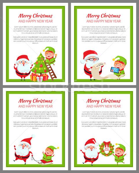 陽気な クリスマス ヘルパー サンタクロース 明けましておめでとうございます ポスター ストックフォト © robuart