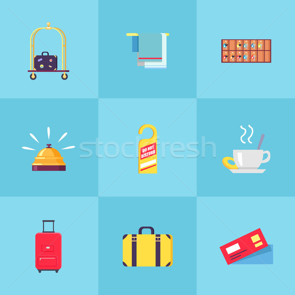 Rest in Hotel Set of Isolated Illustrations Stock photo © robuart