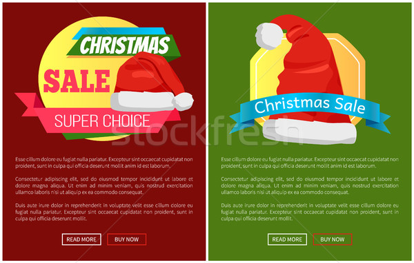 Santa Claus Hat Promo Label Christmas Sale Concept Stock photo © robuart