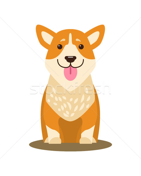 Dog Icon with Tongue Stuck Out Vector Illustration Stock photo © robuart