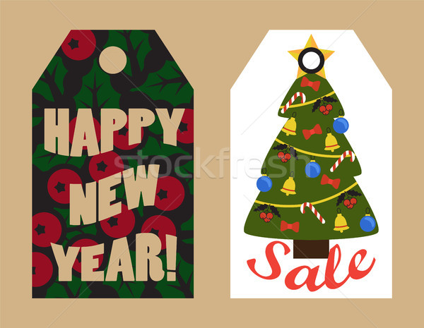 Happy New Year Sale Tags with Mistletoe and Tree Stock photo © robuart