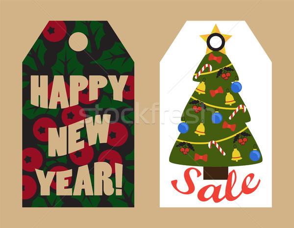 Feliz ano novo venda visco árvore Foto stock © robuart