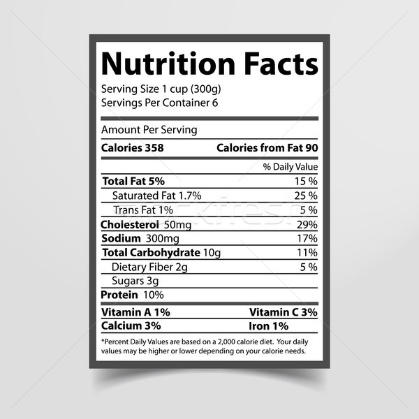 Nutrition Facts Piece of Paper Vector Illustration Stock photo © robuart