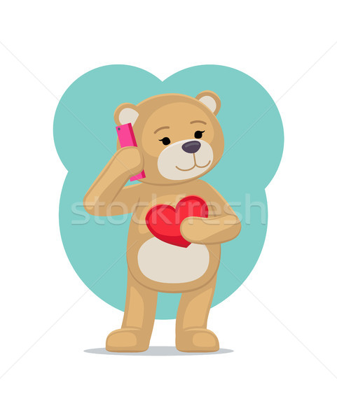 Plush Bear Toy Speaking on Telephone with his Heart Stock photo © robuart
