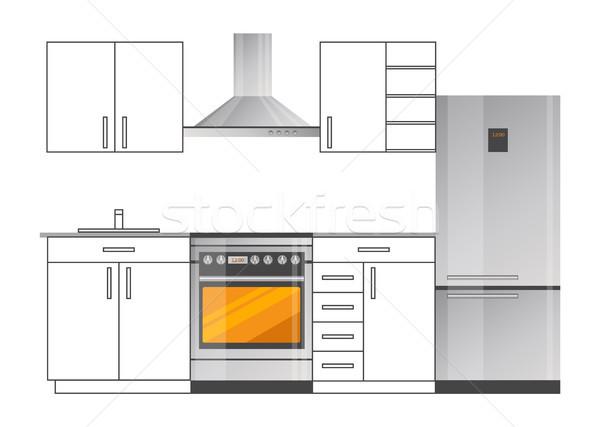 Konyha szoba elegáns terv modern készülékek Stock fotó © robuart