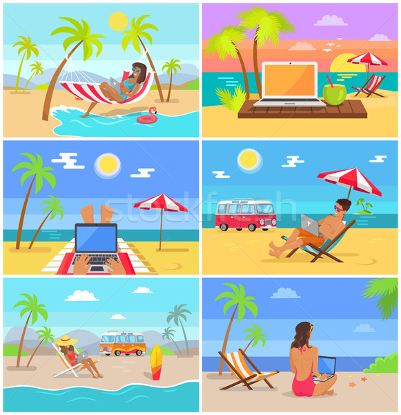 Men and Women Work as Freelancers in Summer Set Stock photo © robuart