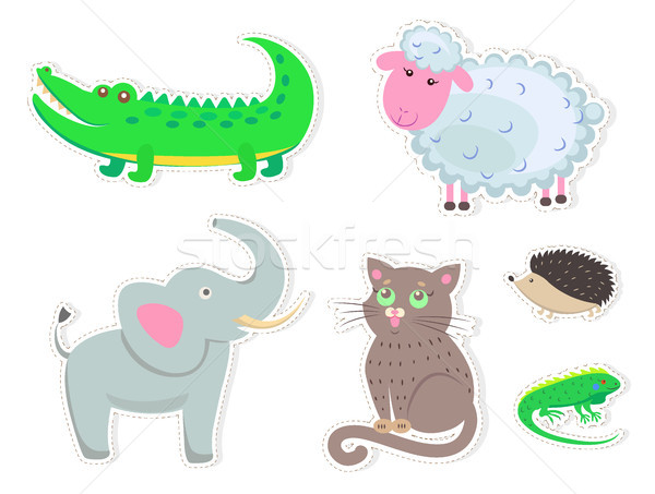 Cartoon Animals Stickers Isolated Illustrations Stock photo © robuart