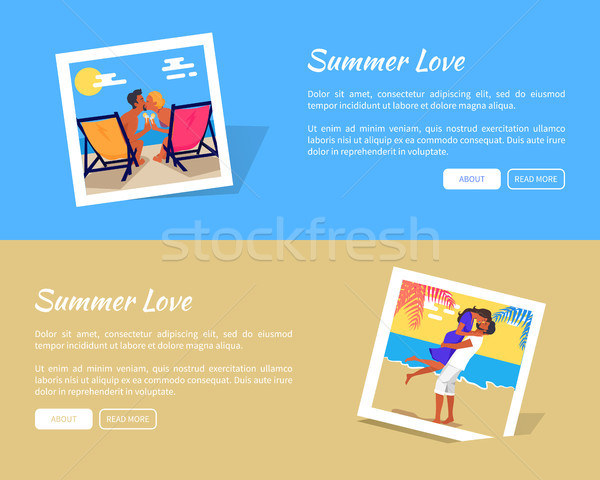 Summer Love Photos Vector Banner with Info Texts Stock photo © robuart