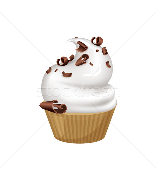 Cupcake with Whipped Cream and Chocolate Crumbles Stock photo © robuart