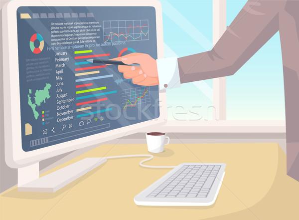 Businessman Analyzing Business Data Vector Banner Stock photo © robuart